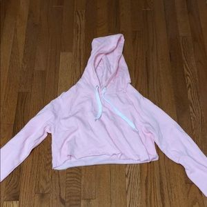 F21 Baby Pink Cropped Hoodie